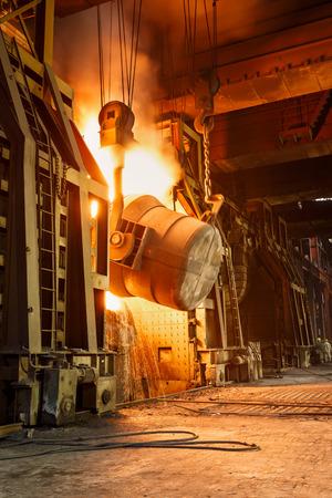 Metal smelting furnace in steel mills Standard-Bild