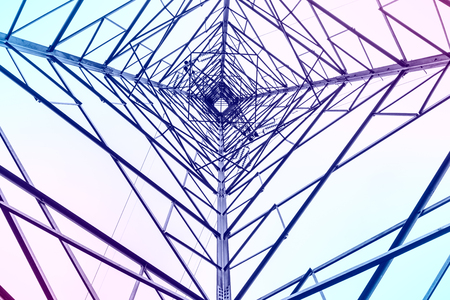 electricidad industrial: High voltage electric tower abstract background in the sky Foto de archivo
