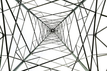 electric grid: High voltage electric tower abstract background in the sky Stock Photo