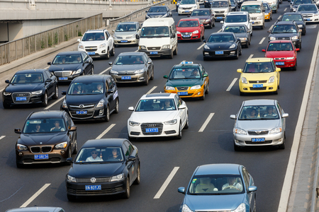 traffic jams: Beijing, China - on September 20, 2015: the urban road traffic jams during the rush hour due to the rising number of vehicles in Beijing, Beijing traffic congestion is more and more serious. Editorial