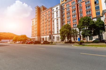 suburban: New apartment building in suburban area