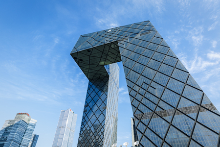 television: Beijing, China - September 19, 2015:China Central Television CCTV Headquarters Building scenery,China Central Television building is a 234 m skyscraper,CCTV is the National TV station of China.