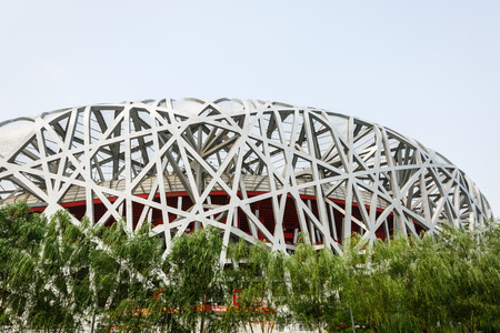 competencia: Beijing, China - on September 20, 2015:Beijing national stadium, also known as the birds nest,the birds nest is Chinas famous Large stadium landmarks building