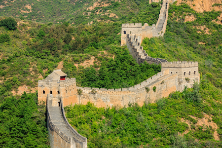 The magnificent Great Wall of China under the blue sky