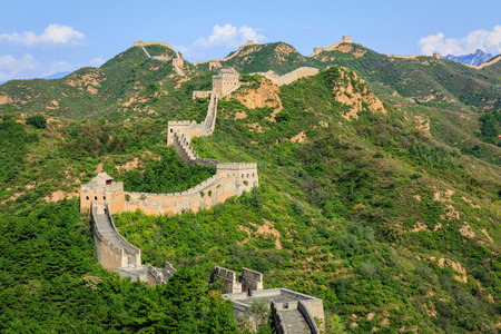 and the magnificent: The magnificent Great Wall of China under the blue sky