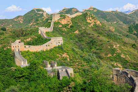 and magnificent: The magnificent Great Wall of China under the blue sky