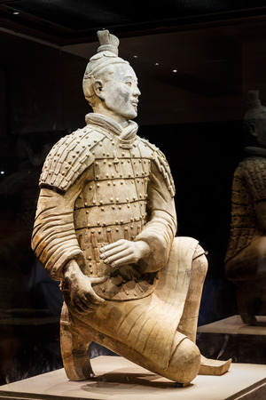 terra cotta: Xi an, China - on September 26, 2015:the worlds most famous statue of the Terra Cotta Warriors,The eighth wonder of the world,qin shihuang terracotta army is one of the world cultural heritage.