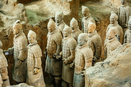 qin: Xi an, China - on September 26, 2015:the worlds most famous statue of the Terra Cotta Warriors,The eighth wonder of the world,qin shihuang terracotta army is one of the world cultural heritage.