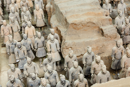 horse warrior: Xi an, China - on September 26, 2015:the worlds most famous statue of the Terra Cotta Warriors,The eighth wonder of the world,qin shihuang terracotta army is one of the world cultural heritage.