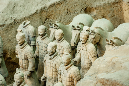world cultural heritage: Xi an, China - on September 26, 2015:the worlds most famous statue of the Terra Cotta Warriors,The eighth wonder of the world,qin shihuang terracotta army is one of the world cultural heritage.
