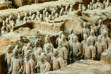 Xi 'an, China - on September 26, 2015:the world's most famous statue of the Terra Cotta Warriors,The eighth wonder of the world,qin shihuang terracotta army is one of the world cultural heritage.