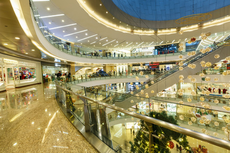 Hangzhou, China - December 25, 2015: hangzhou mixc shopping center Christmas indoor scene, mixc mall is located in the commercial center of hangzhou,Total construction area - 800000 square meters Editorial