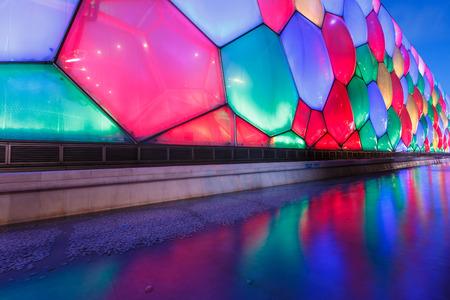 """piscina olimpica: Beijing, China - 20 septiembre, 2015: Cubo de Agua es también llamado el """"cubo de agua"""", está situado en el parque olímpico de Pekín, es para los Juegos Olímpicos de 2008 para construir la piscina principal hito"""