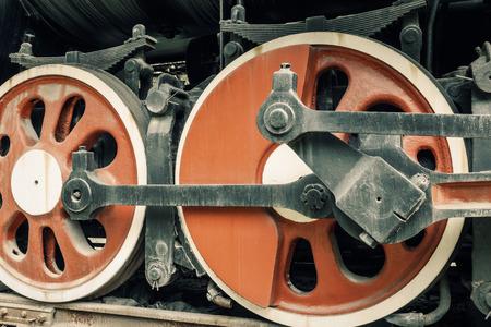 steam train: Wheels of vintage steam train Stock Photo