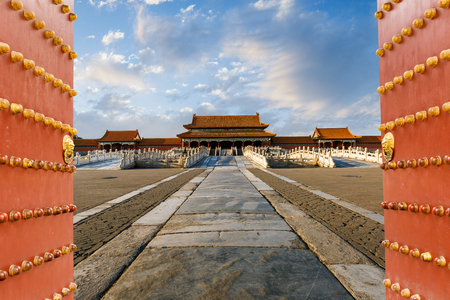The ancient royal palaces of the Forbidden City in Beijing, China Editoriali