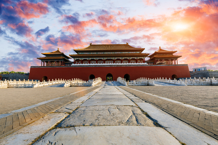 the architecture is ancient: The ancient royal palaces of the Forbidden City in Beijing, China Editorial