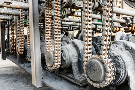 industrial machinery: Old gears and chain of industrial machinery parts Stock Photo