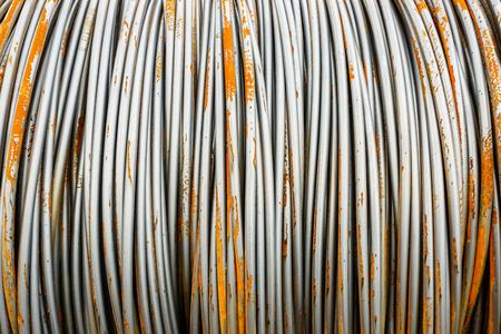 corrode: Pile up clutter metal steel wire in Steel mills