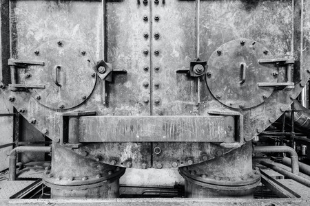steel plate: Abandoned industrial equipment in the old factory Stock Photo