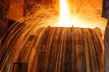 smelting: Blast furnace smelting liquid steel in steel mills
