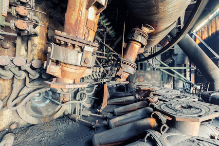 interior walls: Abandoned factory,old industrial equipment background Stock Photo