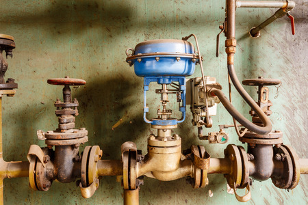 steel mill: Industrial pipe valves in the old steel mill Stock Photo