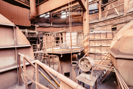 steelworks: Abstract industrial equipment scene in the old steel mill