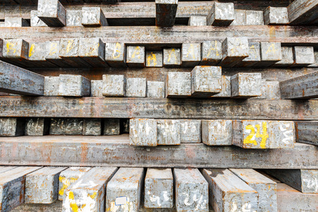 billet: Stack of steel billet products in the steel plant Stock Photo