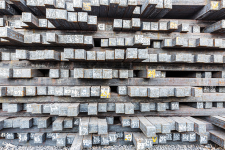 Stack of steel billet products in the steel plant Stok Fotoğraf