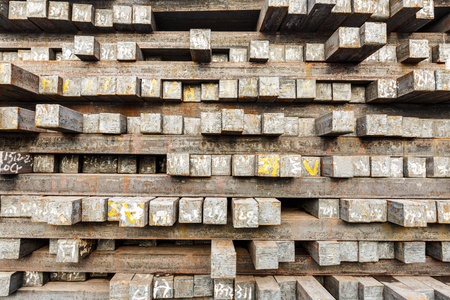 steel plant: Stack of steel billet products in the steel plant Stock Photo