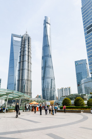jin mao tower: China on - April 2016:Shanghai Shanghai 8 Tower Shanghai world Financial Center Jin and Mao Tower These are the tallest buildings in Shanghai.
