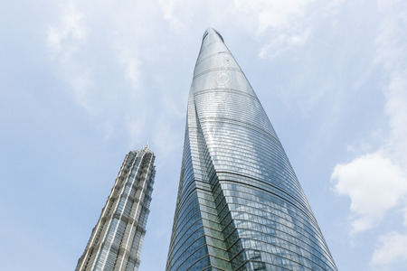 jin mao tower: China on - April 8 commercial center 2016:Shanghai city scenery Shanghai Tower and Jin Mao Tower These are the tallest buildings in Shanghai Shanghai.