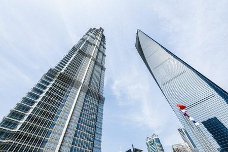 jin mao tower: China on - April 2016:Shanghai 8 commercial center scenery Shanghai world Financial Center and Jin Mao Tower They are the tallest buildings in Shanghai Shanghai. Editorial