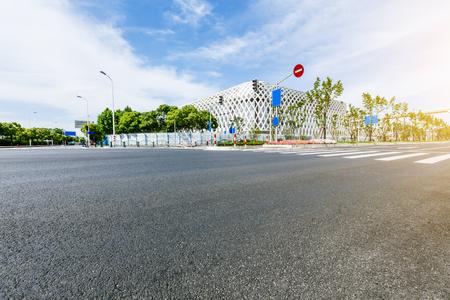 suburbs: new asphalt roads scenery of Shanghai urban suburbs