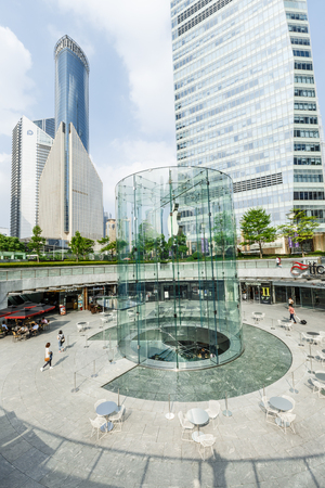 ifc: Shanghai, China - on May 25, 2016:The Apple store at the IFC Mall in Lujiazui Financial District,Apple Corp is a high-tech company in the United States. Editorial