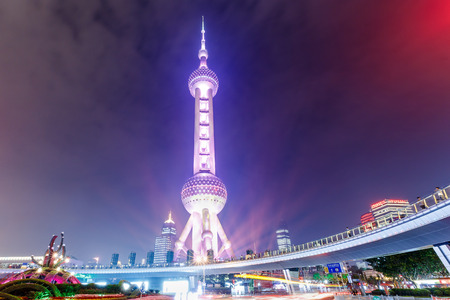 oriental pearl tower: Shanghai,China - on May 25,2016:The Oriental Pearl Tower building scenery at night,Shanghai Oriental Pearl TV Tower is a famous landmark.