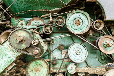 gearing: Gearing in the old combine harvester