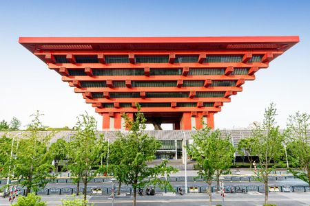 housed: Shanghai,China - on May 17,2016:China Art Museum.It is housed in the former China Pavilion of Expo 2010 located in Pudong.it is the largest art museum in Asia.