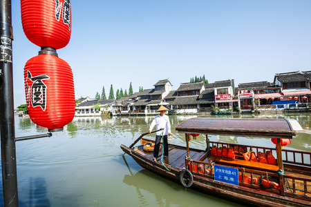 city park boat house: China June 302016:Zhujiajiao ancient town Shanghai of historical buildings in Shanghai Editorial