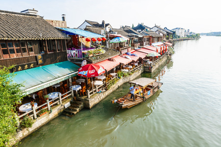 city park boat house: Shanghai, China - July 15,2016: the famous ancient town of zhujiajiao attractions landscape,Zhujiajiao is a famous historical and cultural town of Shanghai. Editorial