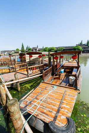 city park boat house: Shanghai, China - June 30, 2016: the famous ancient town of zhujiajiao attractions landscape,Zhujiajiao is a famous historical and cultural town of Shanghai. Editorial