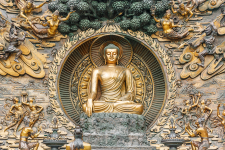 Wuxi,China - July 17,2016:Lingshan Buddha statue beautiful scenes,Grand Buddha at Lingshan Scenic Area is a famous tourist attraction of Buddhist culture in China.