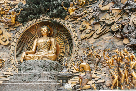 grand buddha: Wuxi,China - July 17,2016:Lingshan Buddha statue beautiful scenes,Grand Buddha at Lingshan Scenic Area is a famous tourist attraction of Buddhist culture in China.