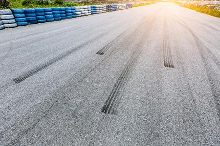 Car Braking track on the asphalt road