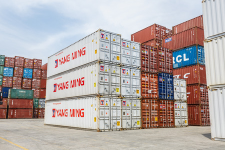Shanghai,China - on April 18,2016:port container freight terminal scene,Shanghai is one of the world's largest container shipping ports.