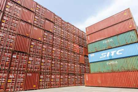 Shanghai,China - on April 18,2016:port container freight terminal scene,Shanghai is one of the worlds largest container shipping ports.