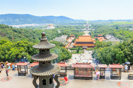 grand buddha: Wuxi, China - July 17, 2016: Lingshan Buddha scenic beautiful scene, Grand Buddha at Lingshan Scenic Area is a famous tourist attraction of Buddhist culture in China.
