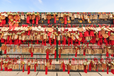 grand buddha: Wuxi, China - July 17, 2016: Lingshan Buddha scenic Wishing Wall, Grand Buddha at Lingshan Scenic Area is a famous tourist attraction of Buddhist culture in China. Editorial