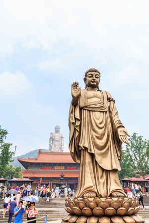 grand buddha: Wuxi, China - July 17, 2016: Lingshan Buddha scenic beautiful scene, Buddha is one of Chinas largest Buddha statue, Grand Buddha at Lingshan Scenic Area is a famous tourist attraction in China.