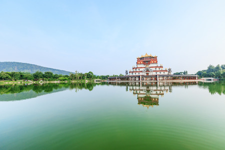 Wuxi,China - on July 17,2016:The five seal Mandala building scenery in Wuxi Lingshan scenic,The five seal Mandala architectural style of Tibetan Buddhism landmark. Editorial